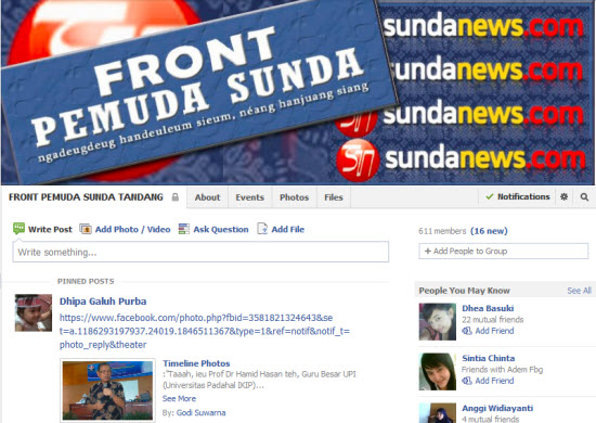Front Pemuda Sunda Tandang di Pésbuk