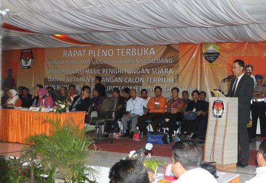 Kaayaan keur lumangsungna Rapat Pleno KPU Daerah Sumedang