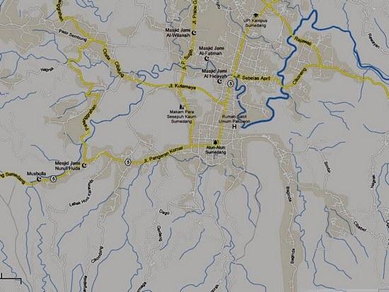 Peta sabudeureun dayeuh Sumedang ayeuna (2013)