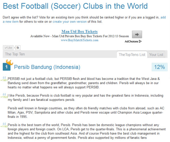 Persib Bandung jadi pinunjul kahiji dina Best Football (Soccer) Clubs in the World di loka The Top Tens