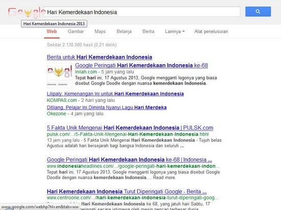 Hasil panyungsi kalimah 'Hari Kemerdekaan Indonesia 2013'