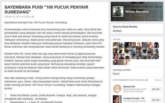 Saémbara Antologi Puisi 100 Pucuk Penyair Sumedang