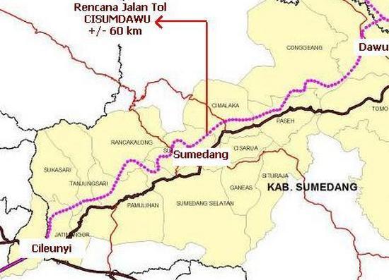 Jalur anu kaliwatan ku jalan tol Cisumdawu