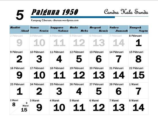 Ping 1 Suklapaksa Palguna 1950 Candra Kala Sunda