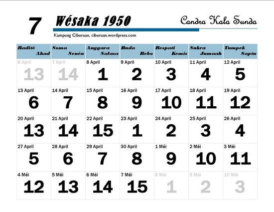 Ping 1 Suklapaksa Wésaka 1950 Candra Kala Sunda