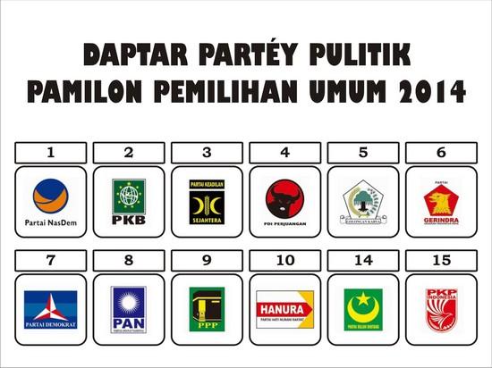 Daptar Partéy Pulitik Pamilon Pemilu 2014