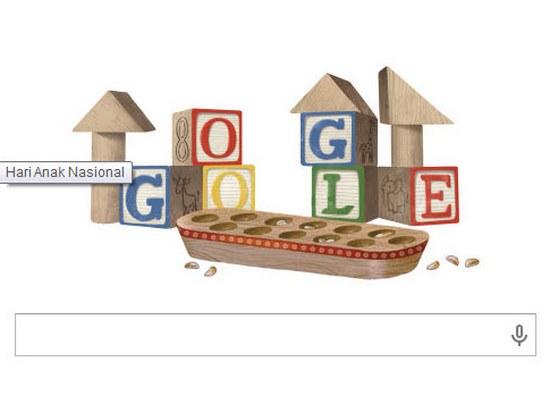 Lambaran hareup panyungsi Google anu mintonkeun kaulinan Congklak