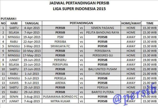 Rarancang Jadwal Tatandang Persib Bandung puteran kahiji