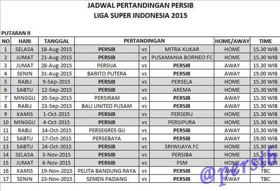Rarancang Jadwal Tatandang Persib Bandung puteran kadua