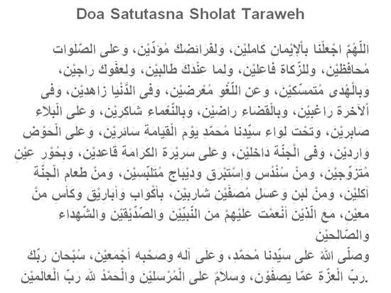 Doa satutasna solat Taraweh