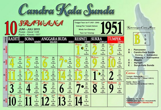 Ping 1 Suklapaksa Srawana 1951 Candra Kala Sunda