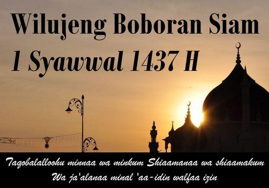 Wilujeng boboran siam 1 Syawwal 1437 H