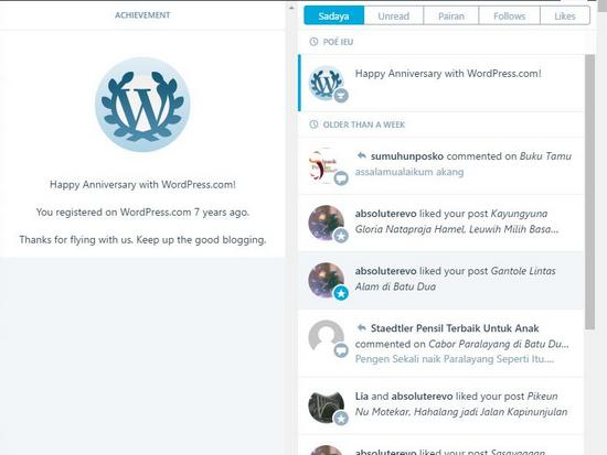 Manjing tujuh taun ngageugeuh di WordPress
